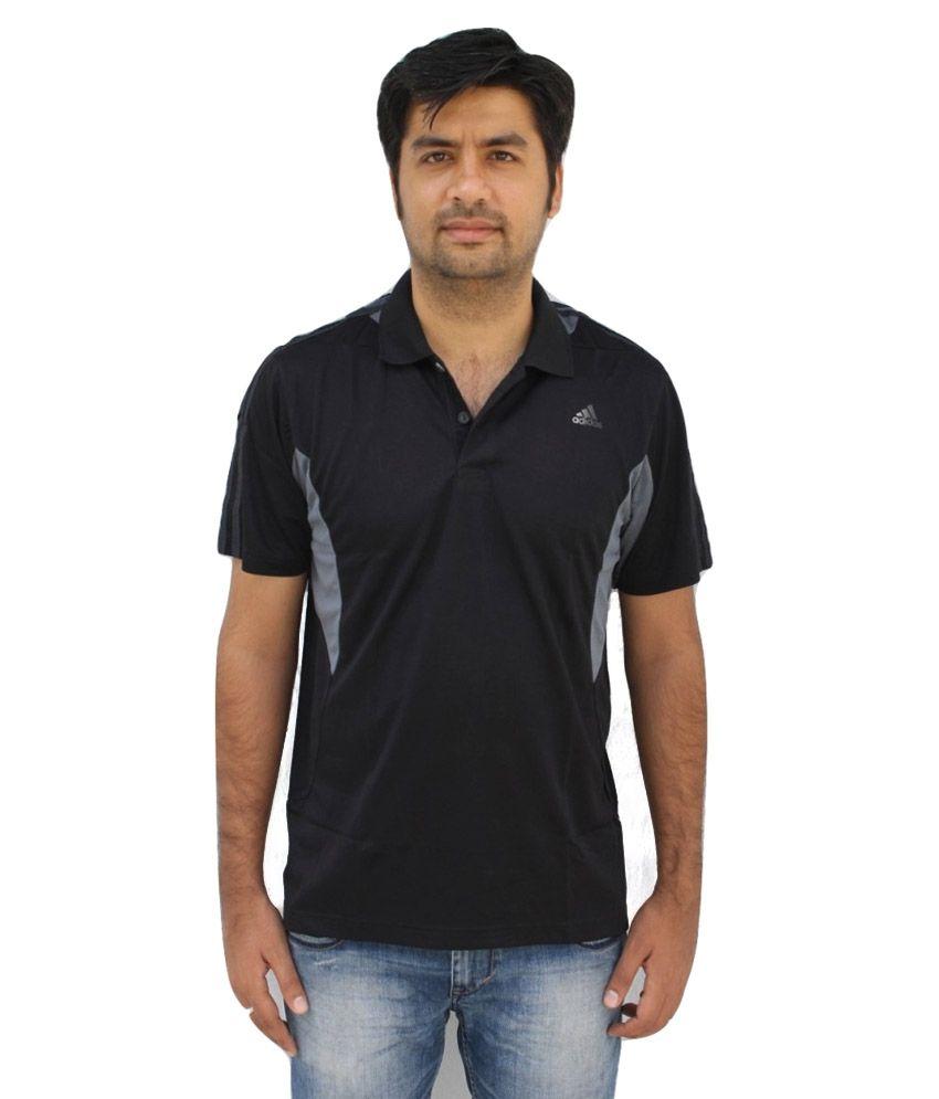Adidas black half sleeves polo t shirt buy adidas black for Full sleeve polo t shirts