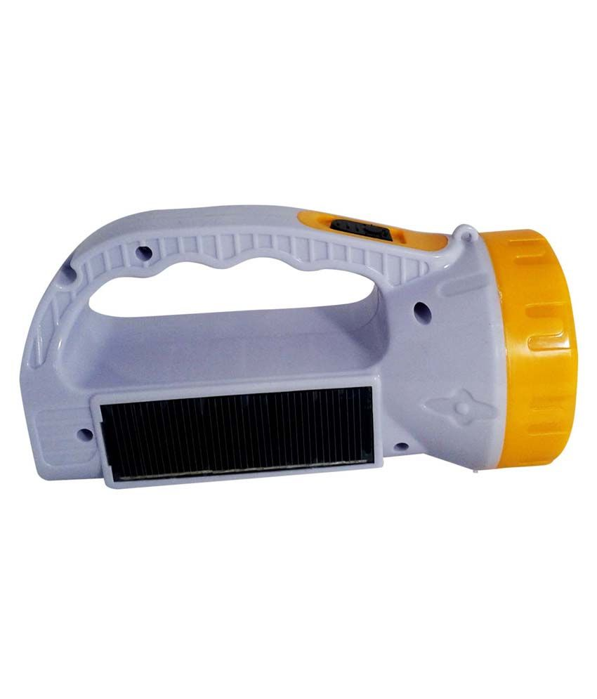 Vrct Virgin Plastic Solar Charging LED Emergency Light Grey & Yellow