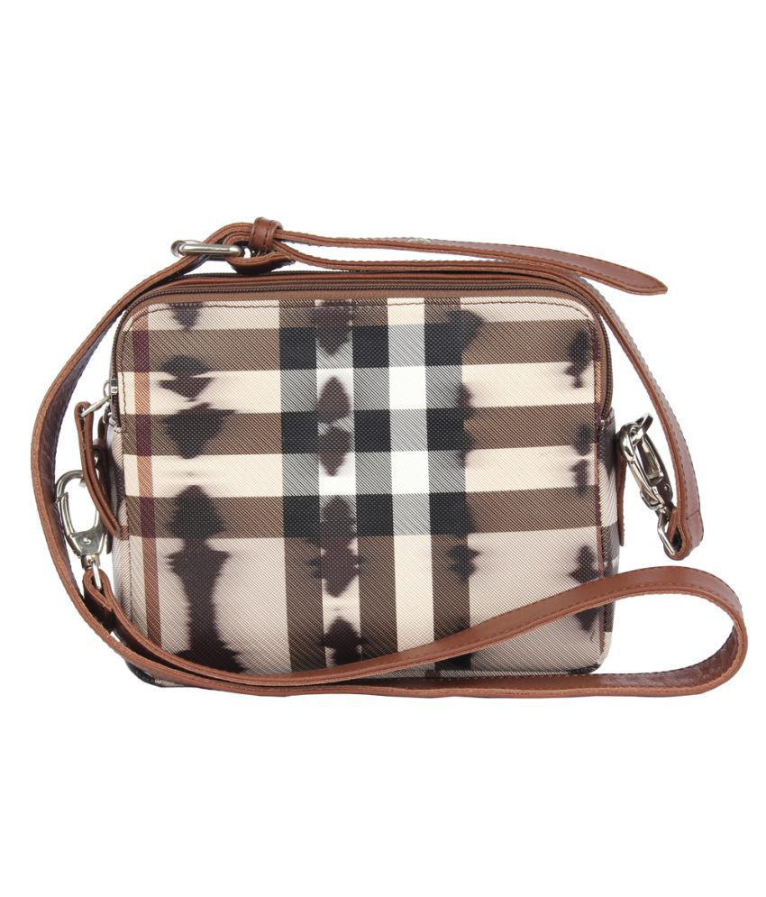 Walletsnbags Beige And Brown Sling Bag