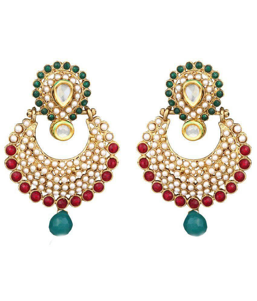 Zaveri Pearls Multicolour Alloy Hanging Earrings