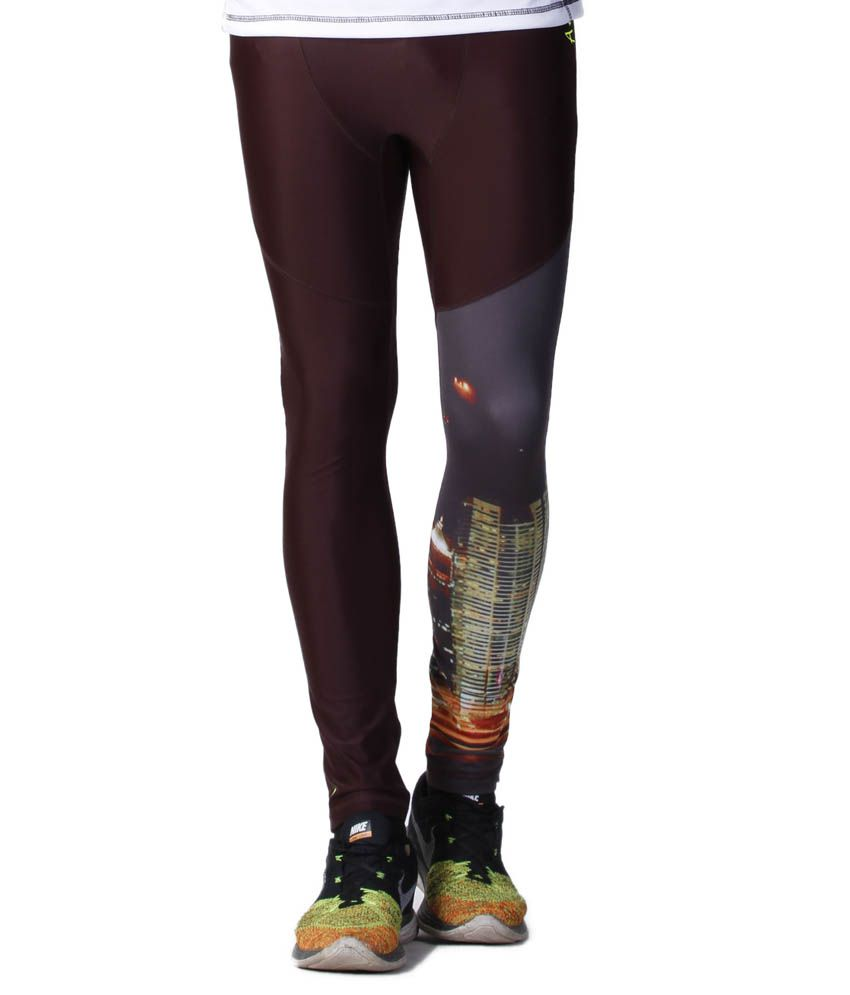Atheno Brown Polyester Sports Gym Legging