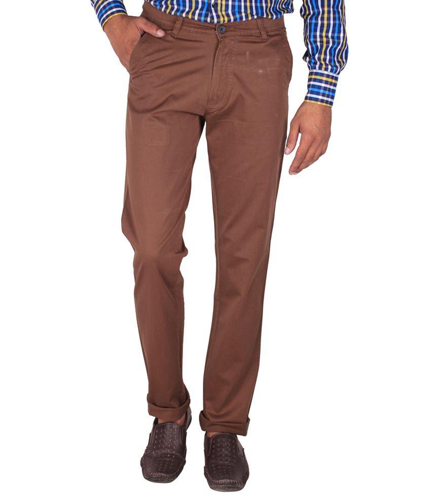 Fluidic Brown Regular Fit Casual Flat Trouser