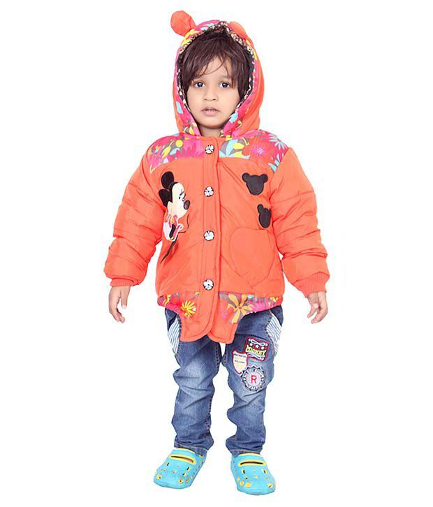 Sakhi Sang Orange Full Sleeve Quilted Polyester Jackets