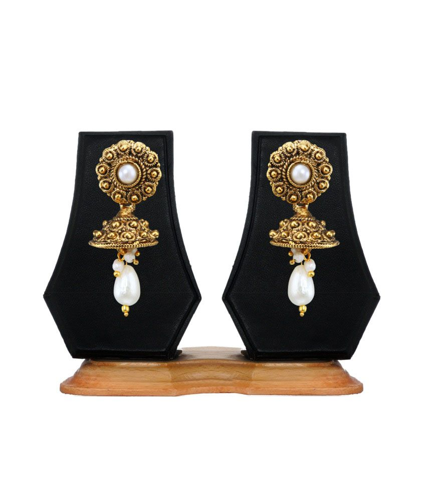 Zaveri Pearls Golden Alloy Jhumkis
