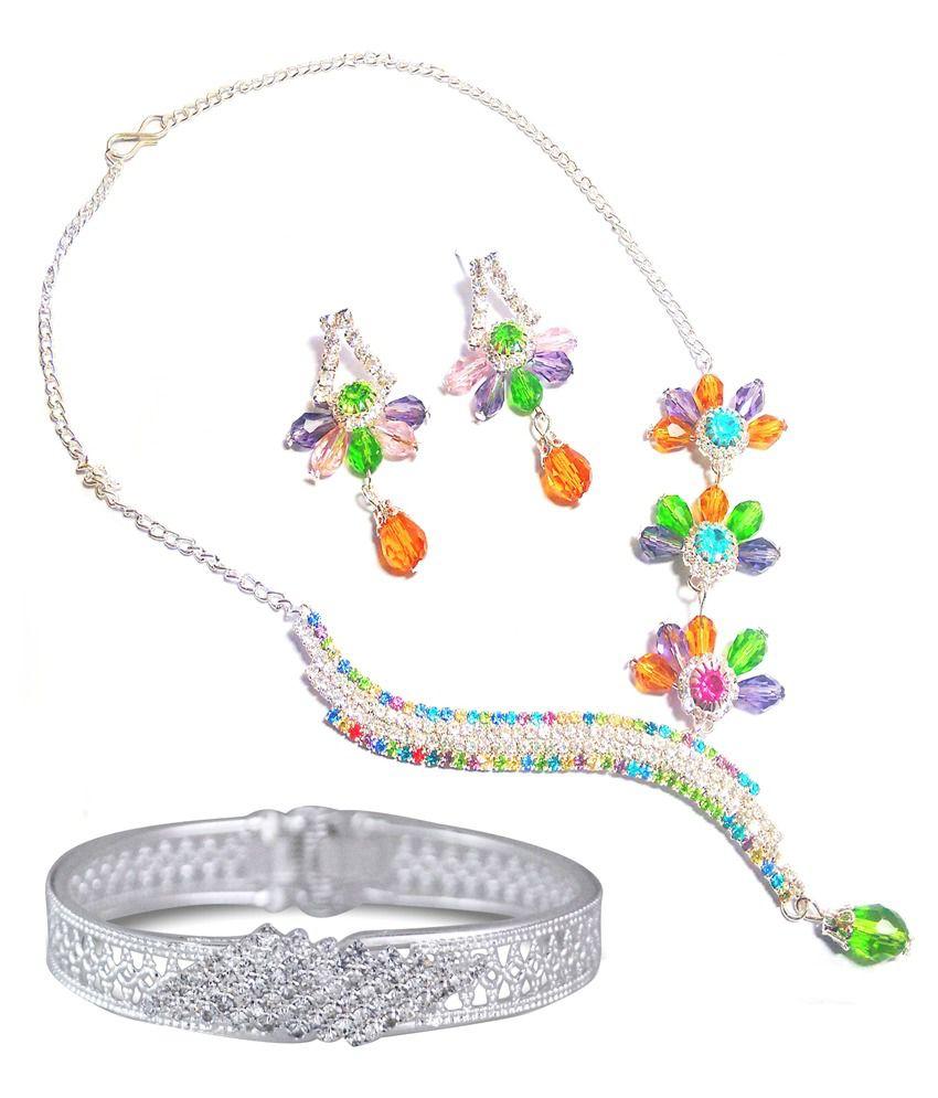 Orun Blues Multi Coloured Beaded Designer Necklace Set With Kada Combo