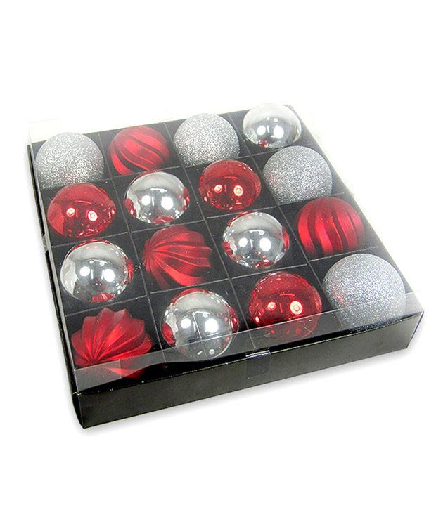 archies christmas decorations red silver bubbles 16 pieces