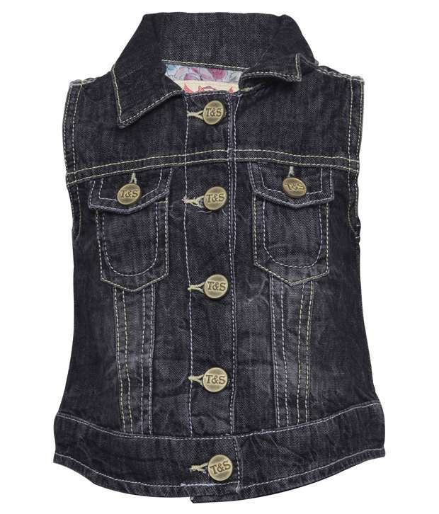 Tales & Stories Black Denim Sleeveless Jacket For Kids