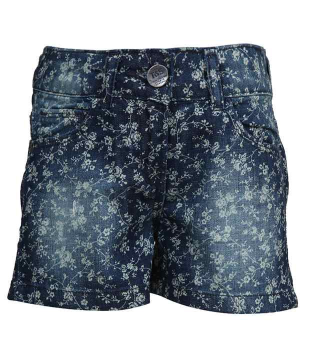 Tales & Stories Blue Printed Denim Shorts