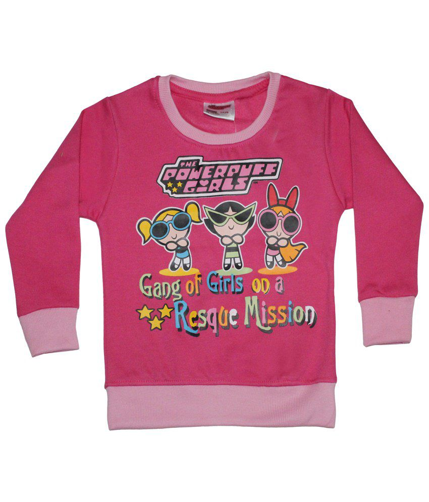 Power Puff Girls Pink & Yellow Full Sleeve Sweatshirt