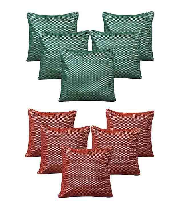 Royalina Green Polyester Cushion Cover - Buy 5 Get 5