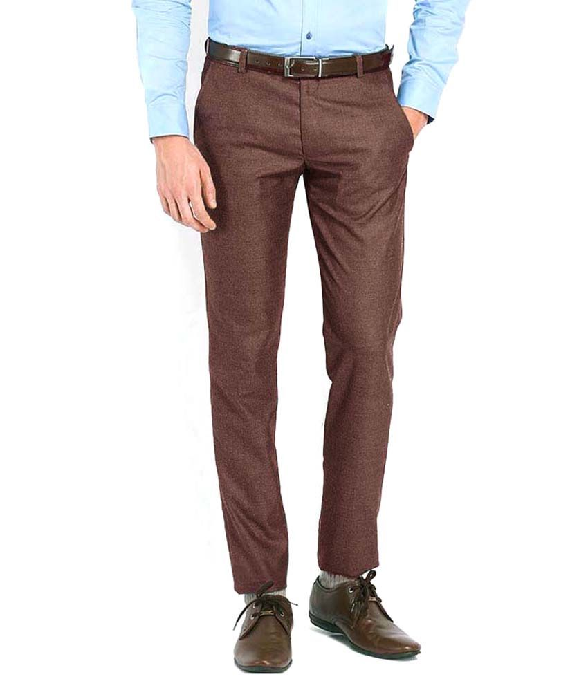 AD & AV Brown Regular Fit Formal Flat Trouser
