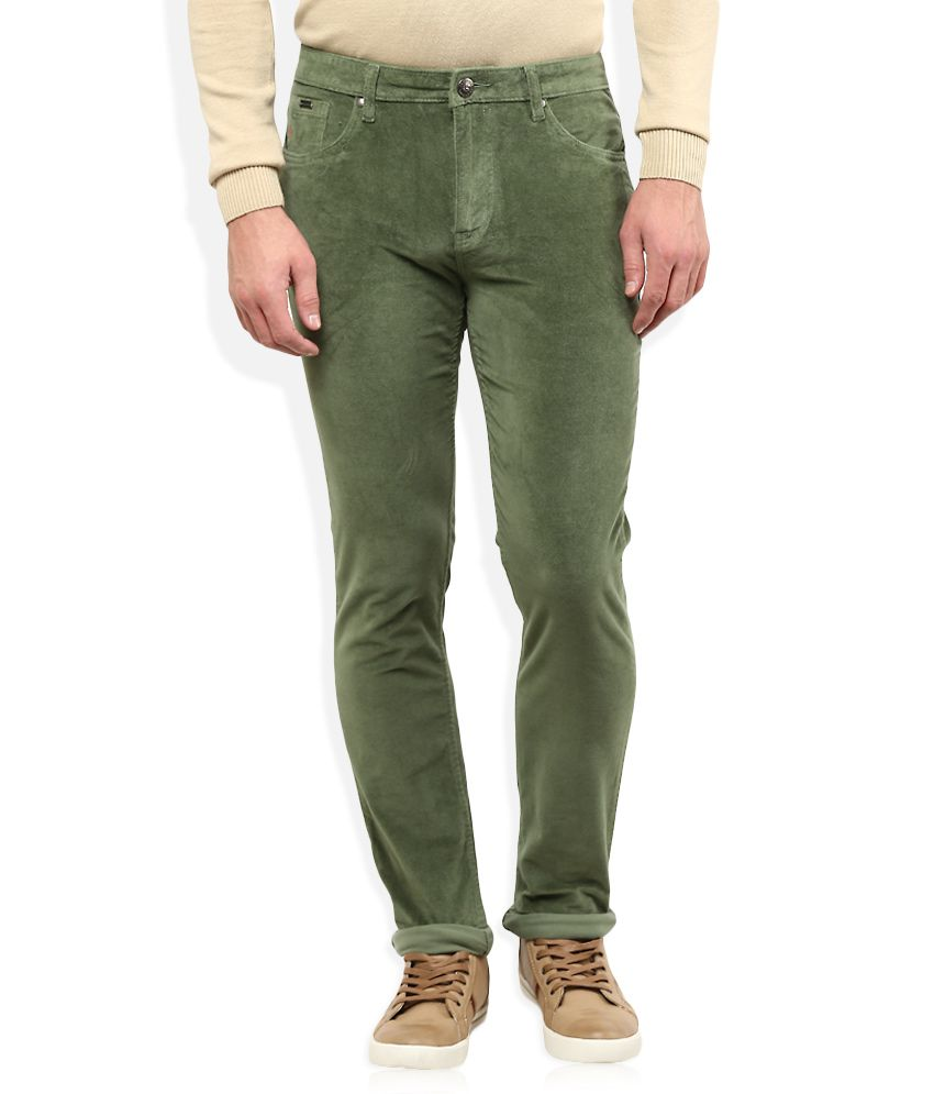 American Swan Green Slim Fit Casuals Chinos