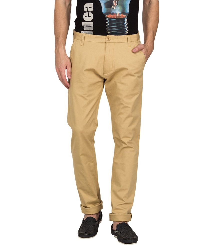 Derby Jeans Community Beige Slim Fit Casual Chinos