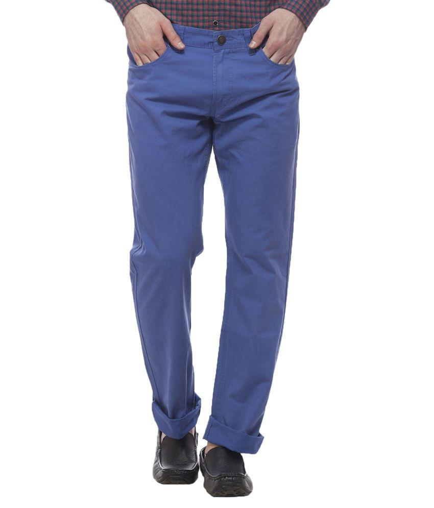 Divini Blue Slim Fit Formal Trouser