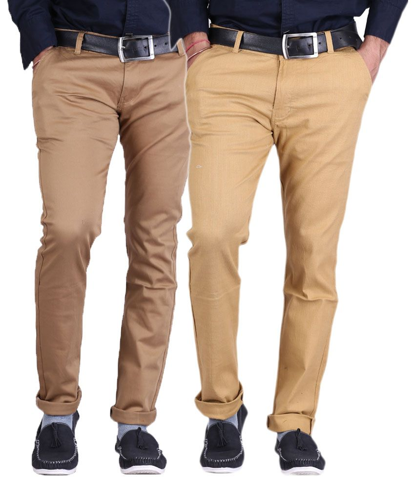Ansh Fashion Wear Beige and Brown Regular Fit Casual Combo of 2 Chinos Trouser