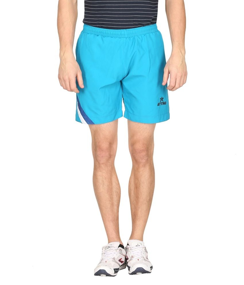 Attro Blue Polyester Solid Shorts