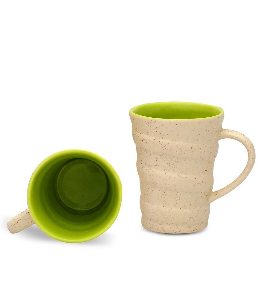 Caffeine Cream and Green Spiral Cup (3d, 4h) Ceramic Mug