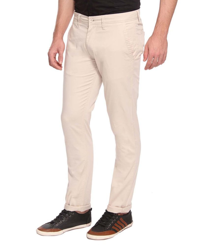 Derby Jeans Community Off-White Slim Fit Casual Chinos