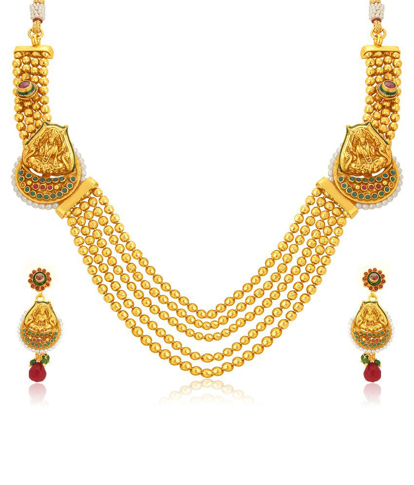 Sukkhi Golden Alloy Bridal Necklace Set