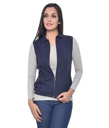 Frenchtrendz Navy Rayon Jackets