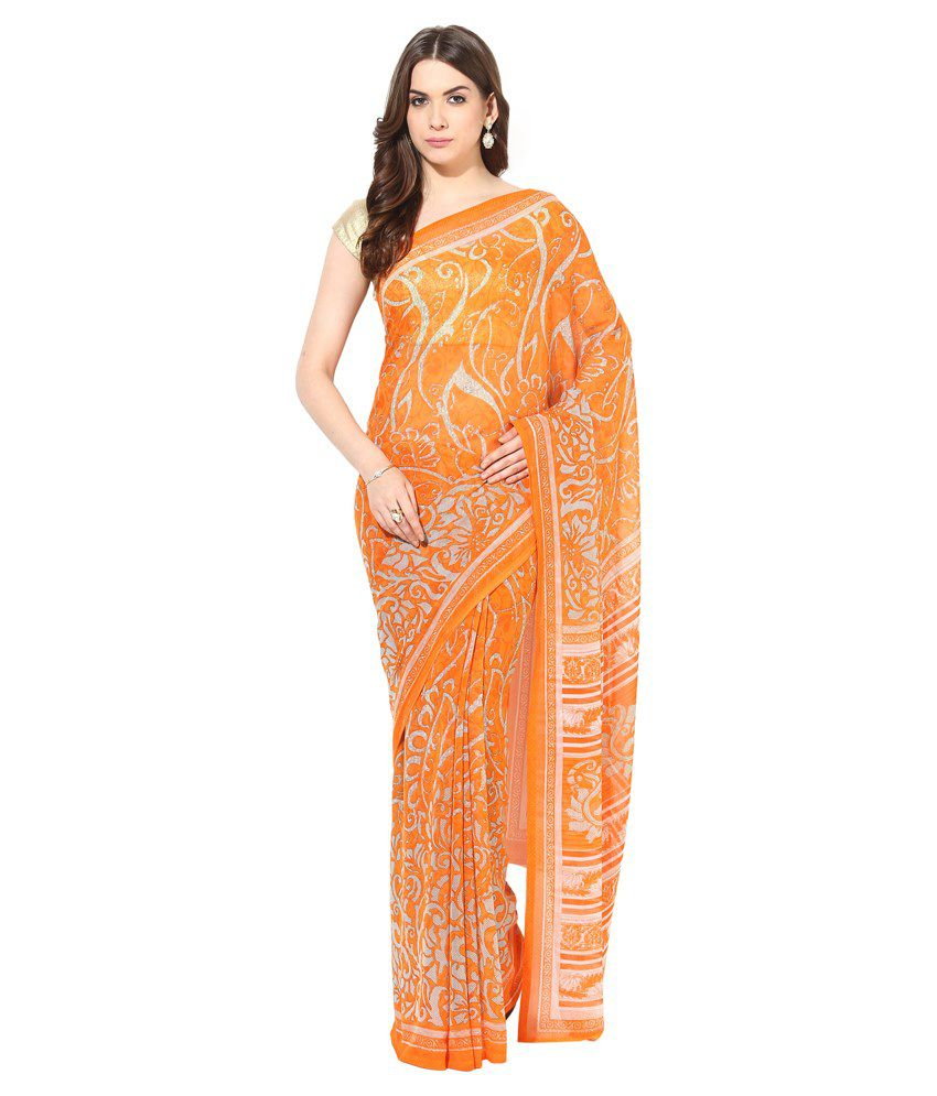Fostelo Orange Chiffon Saree