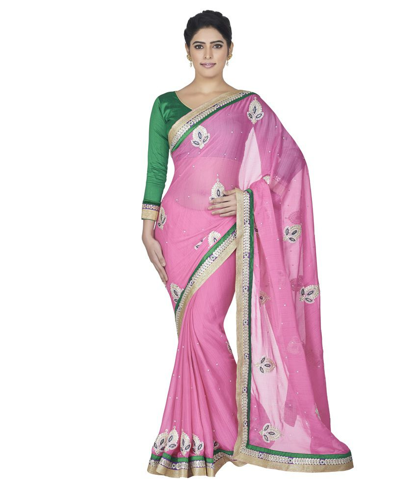 9b02cefd7da1 Oomph! Hot Pink Embroidered Chiffon Designer Saree With Contrasting Silk  Blouse - Buy Oomph! Hot Pink Embroidered Chiffon Designer Saree With  Contrasting ...