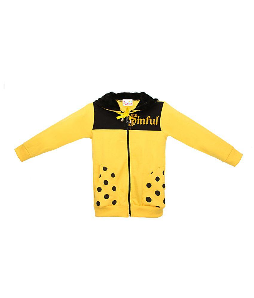 Eimoie Yellow Full Sleeve Fleece Jacket With Hood