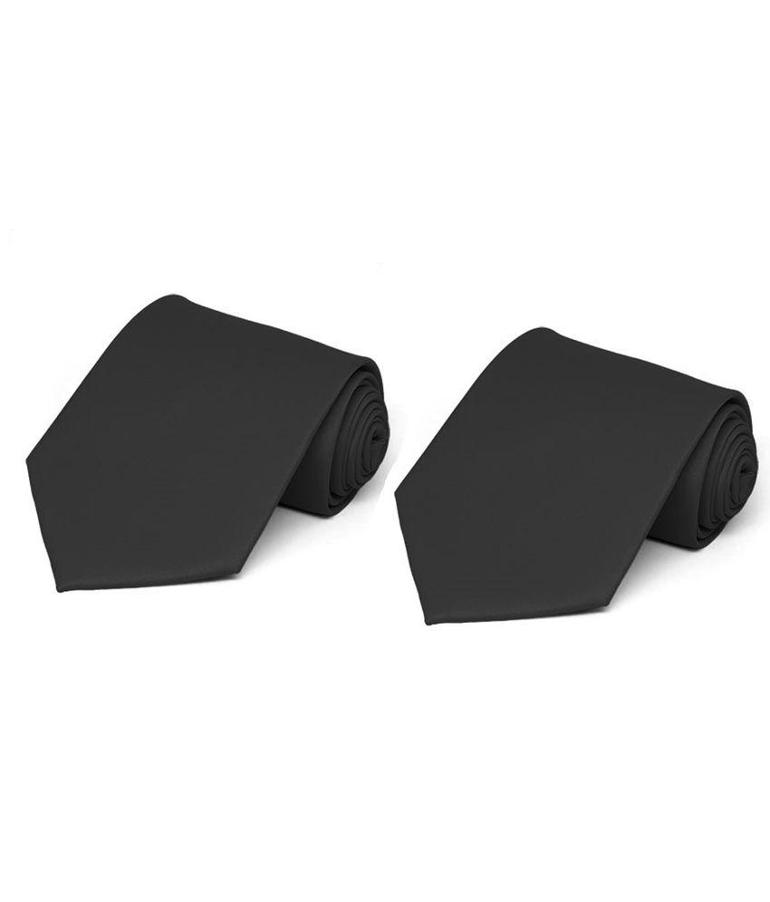 Picador Black Satin Men's Tie - Combo of 2