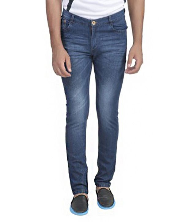 Ragged Blue Cotton Blend Slim Fit Jeans