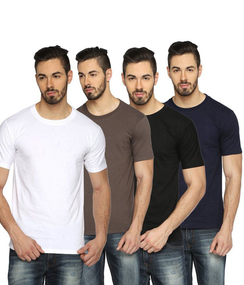 Youthen Multicolour Cotton T-Shirt - Pack of 4