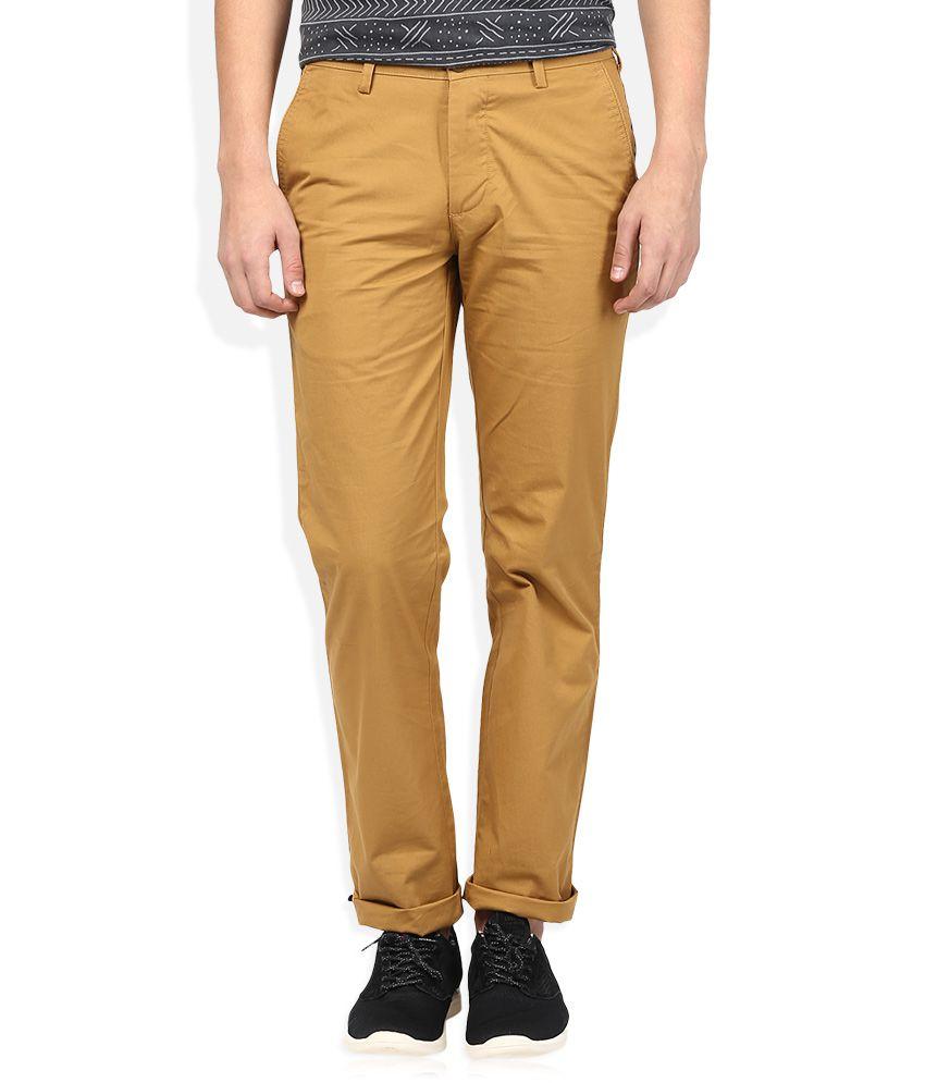 Color Plus Khaki Solid Flat Front Trousers