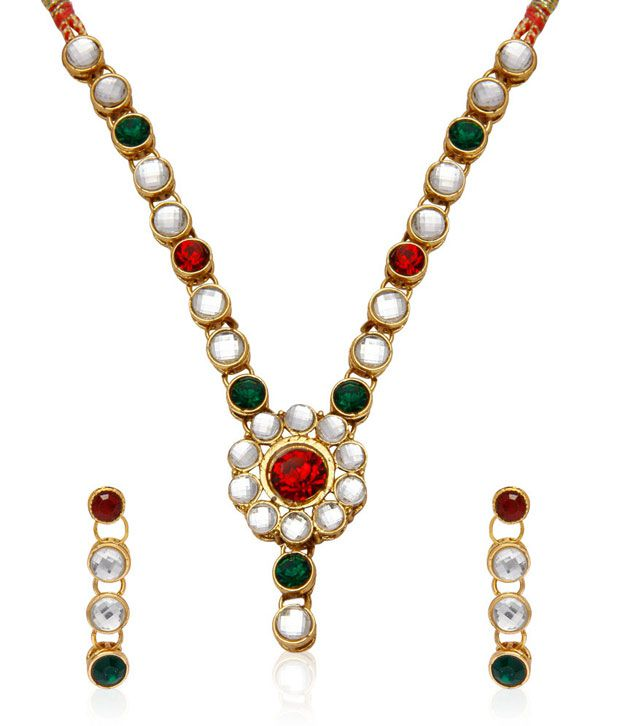 Jewels Galaxy Red And Green Kundan Necklace Set