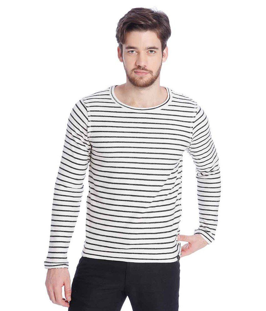 Jack & Jones White Full Sleeves T-Shirt