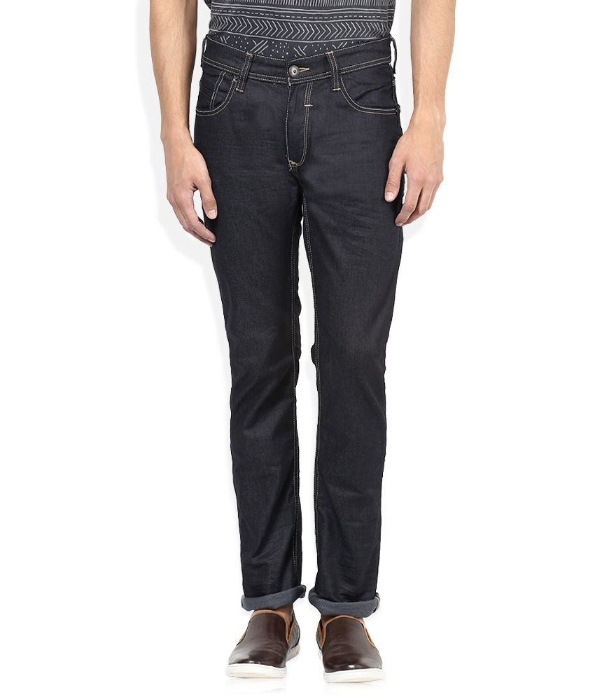 Spykar Black Raw Denim Slim Fit Jeans
