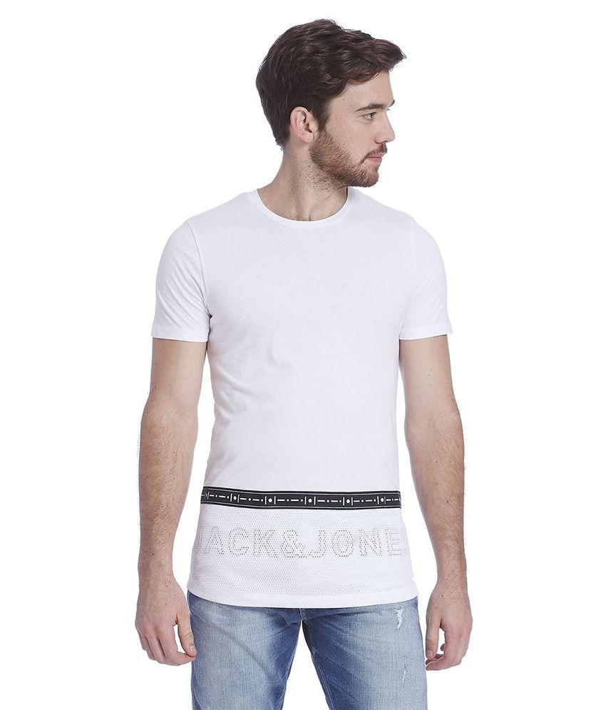 Jack & Jones White Half Sleeves T-Shirt