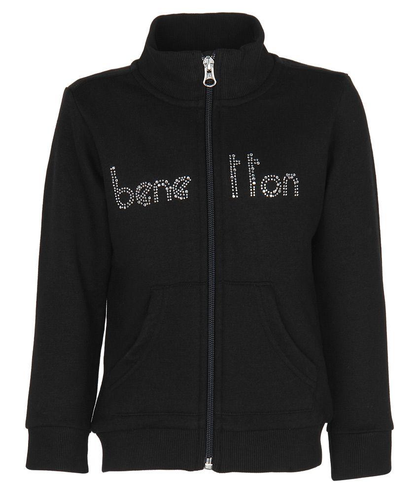 United Colors of Benetton Black Zippered Sweatshirt