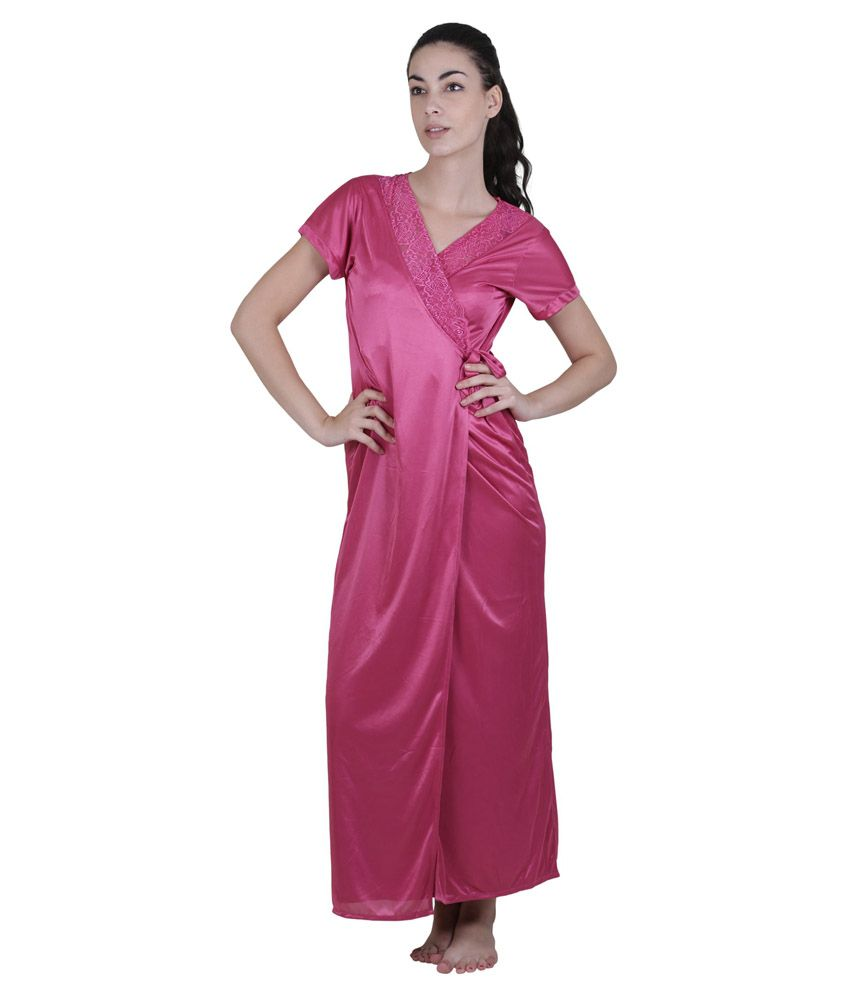 Buy Vixenwrap Pink Satin Nighty Online at Best Prices in India - Snapdeal a015e6b45