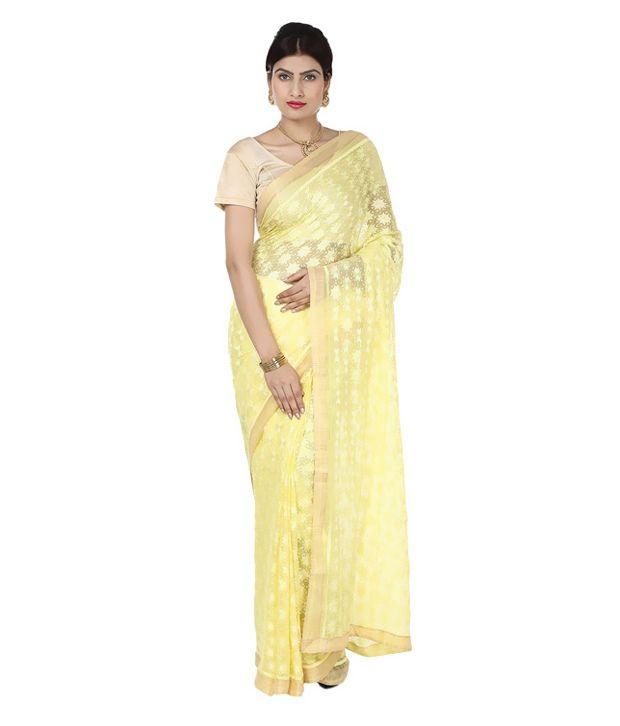 NJJP Creations Yellow Chiffon Saree