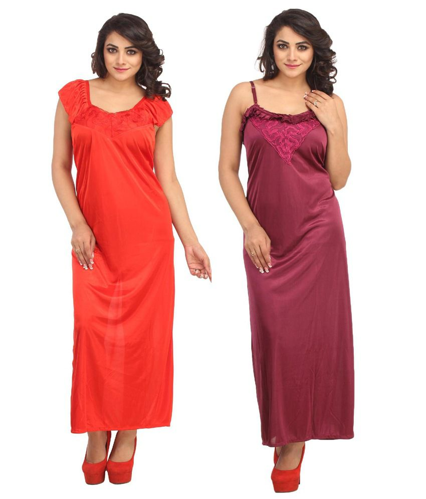 Aasma Multi Color Satin Nighty Pack of 2