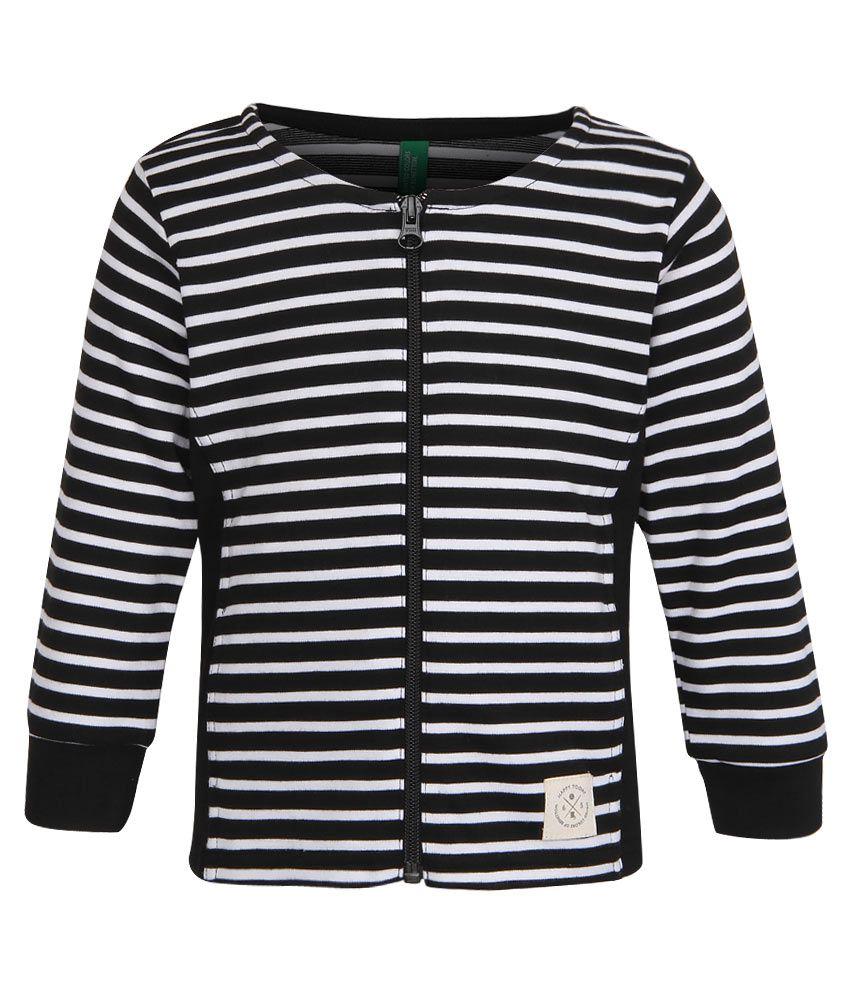United Colors of Benetton Black Striped Zippered Sweatshirt