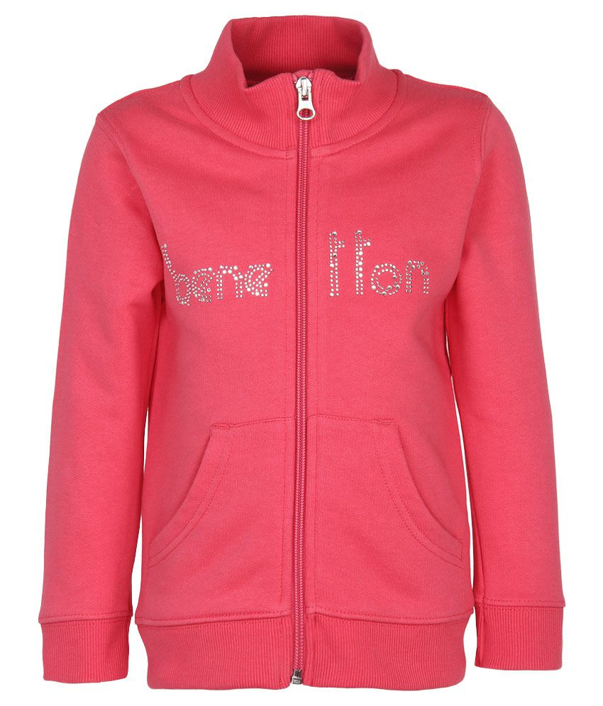 United Colors of Benetton Pink Zippered Sweatshirt