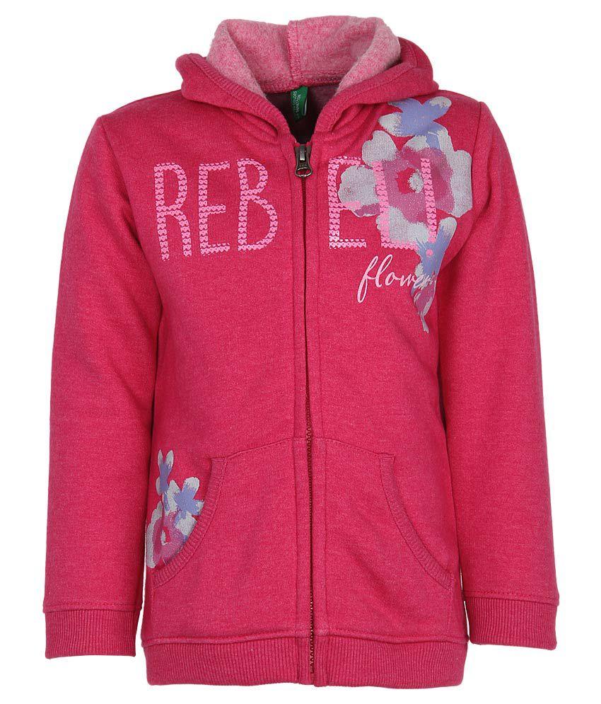 United Colors of Benetton Pink Printed Zippered Sweatshirt