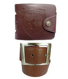 Apki Needs Combo Of Brown Wallet And Tan Belt For Men