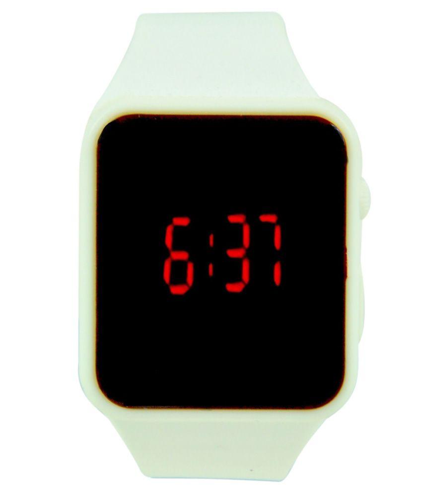 Elios White Silicon Digital Watch