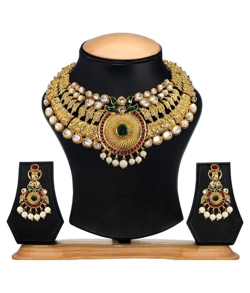 Zaveri Pearls Multicolour Alloy Designer Necklace Set