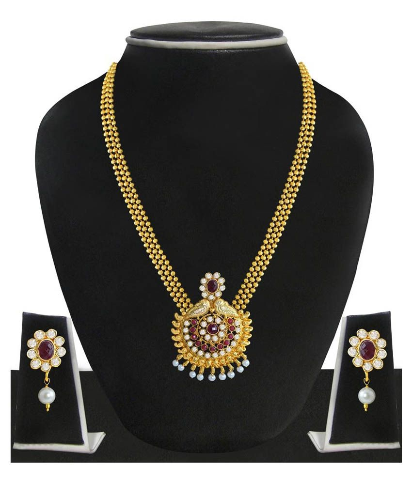 Zaveri Pearls Red And Golden Alloy Designer Necklace Set
