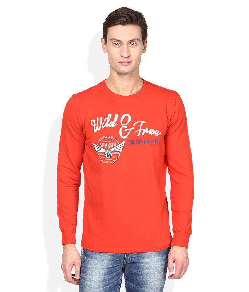Spykar Orange T-Shirt