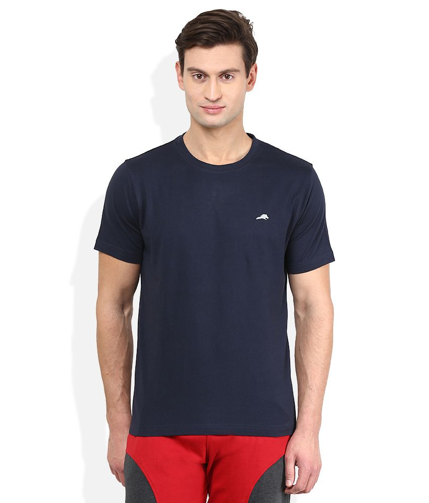 2go Navy Solid T-Shirt
