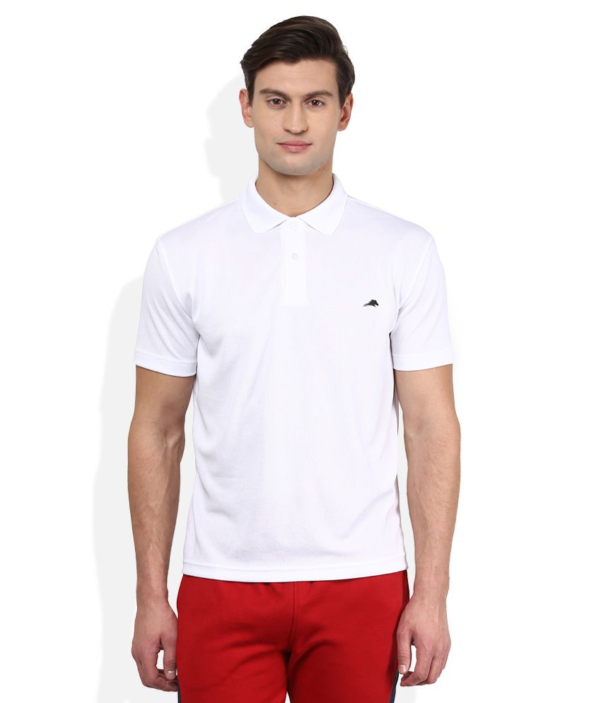 2go White Solid Polo T Shirt