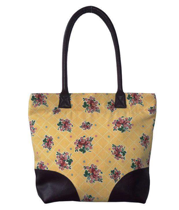 HVE Yellow Base Brown Flower Shopping Bag